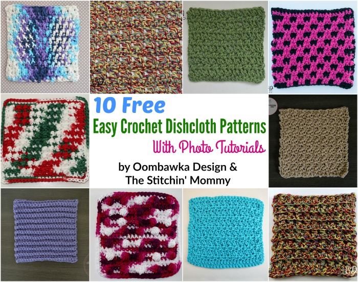 10 Free and Easy Crochet Dishcloth Patterns with Photo Tutorials