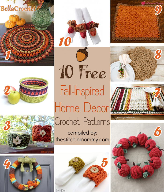 Crochet Patterns Home Decor : 10 Free Fall-Inspired Home Decor Crochet Patterns - The Stitchin Mommy
