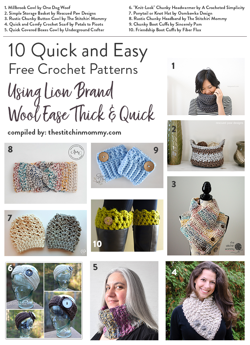 10 Quick And Easy Free Crochet Patterns Using Lion Brand
