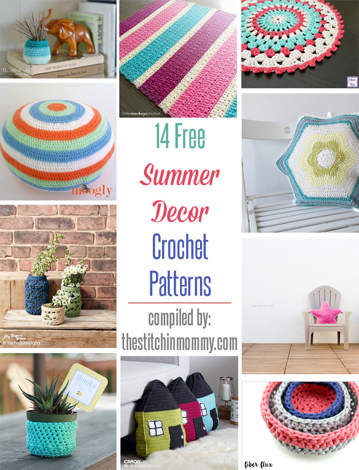 14 free summer decor crochet patterns the stitchin mommy Crochet home decor pinterest