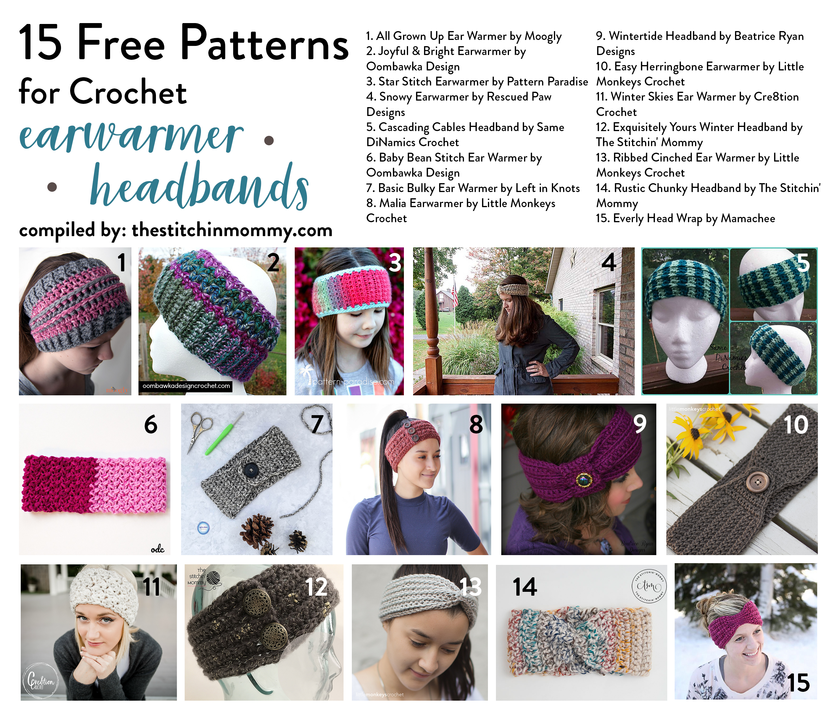 15 Free Patterns for Crochet Earwarmer Headbands - The Stitchin Mommy