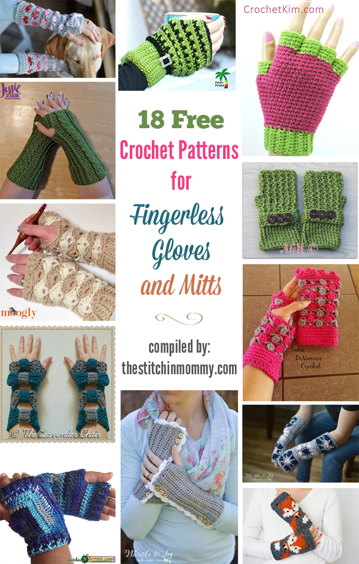 18 Free Crochet Patterns for Fingerless Gloves and Mitts compiled by The Stitchin' Mommy | www.thestitchinmommy.com