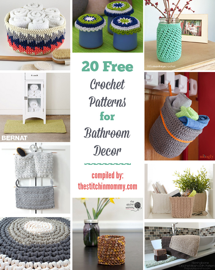 20 free crochet patterns for bathroom decor the stitchin mommy Crochet home decor pinterest