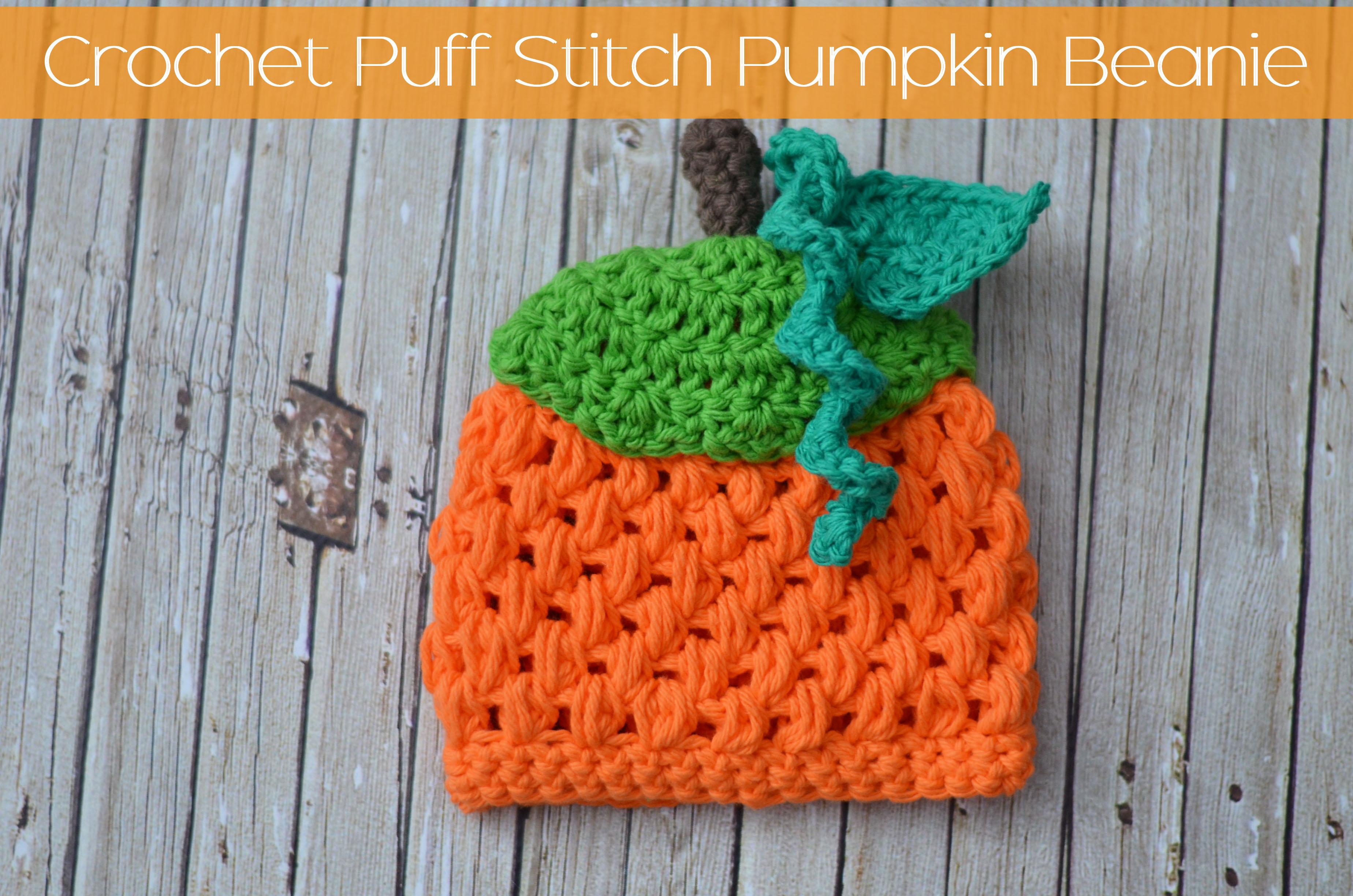 Crochet Puff Stitch Pumpkin Beanie – Free Pattern