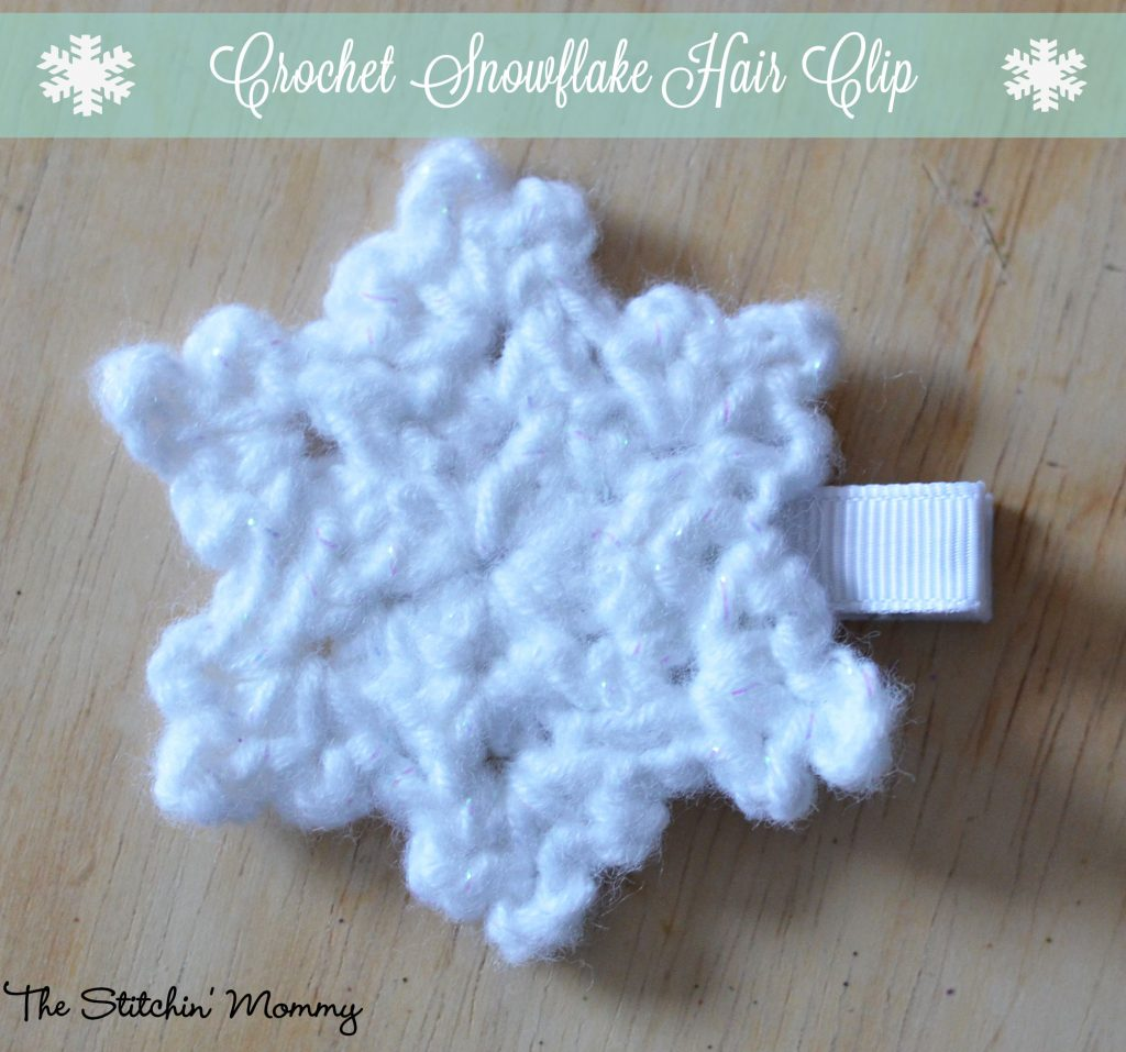 Crochet Snowflake Patterns Free Easy : Crochet Snowflake Hair Clip - Free Pattern - The Stitchin ...