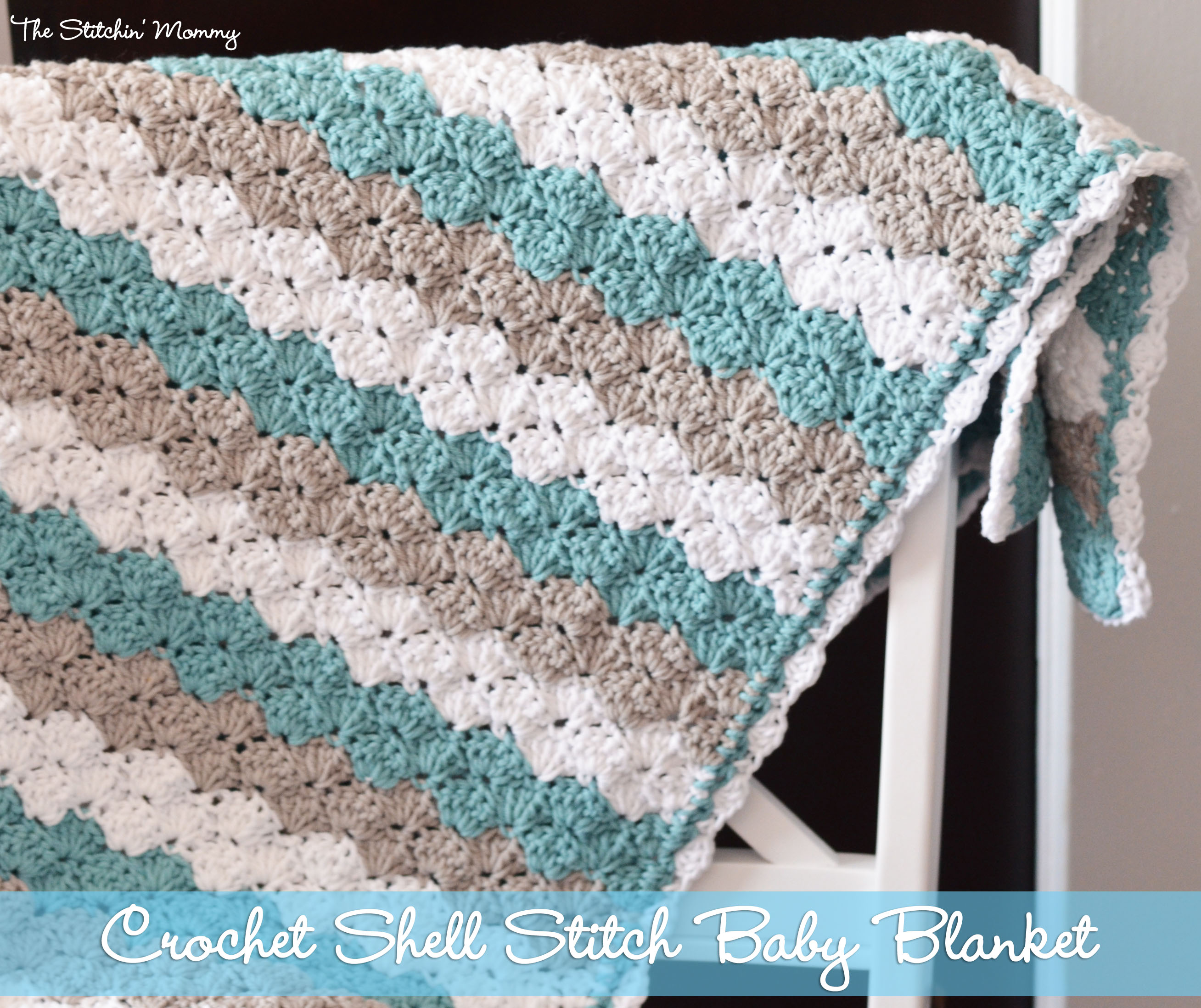 Free Crochet Stitches : Crochet Shell Stitch Baby Blanket By The Stitchin Mommy Www