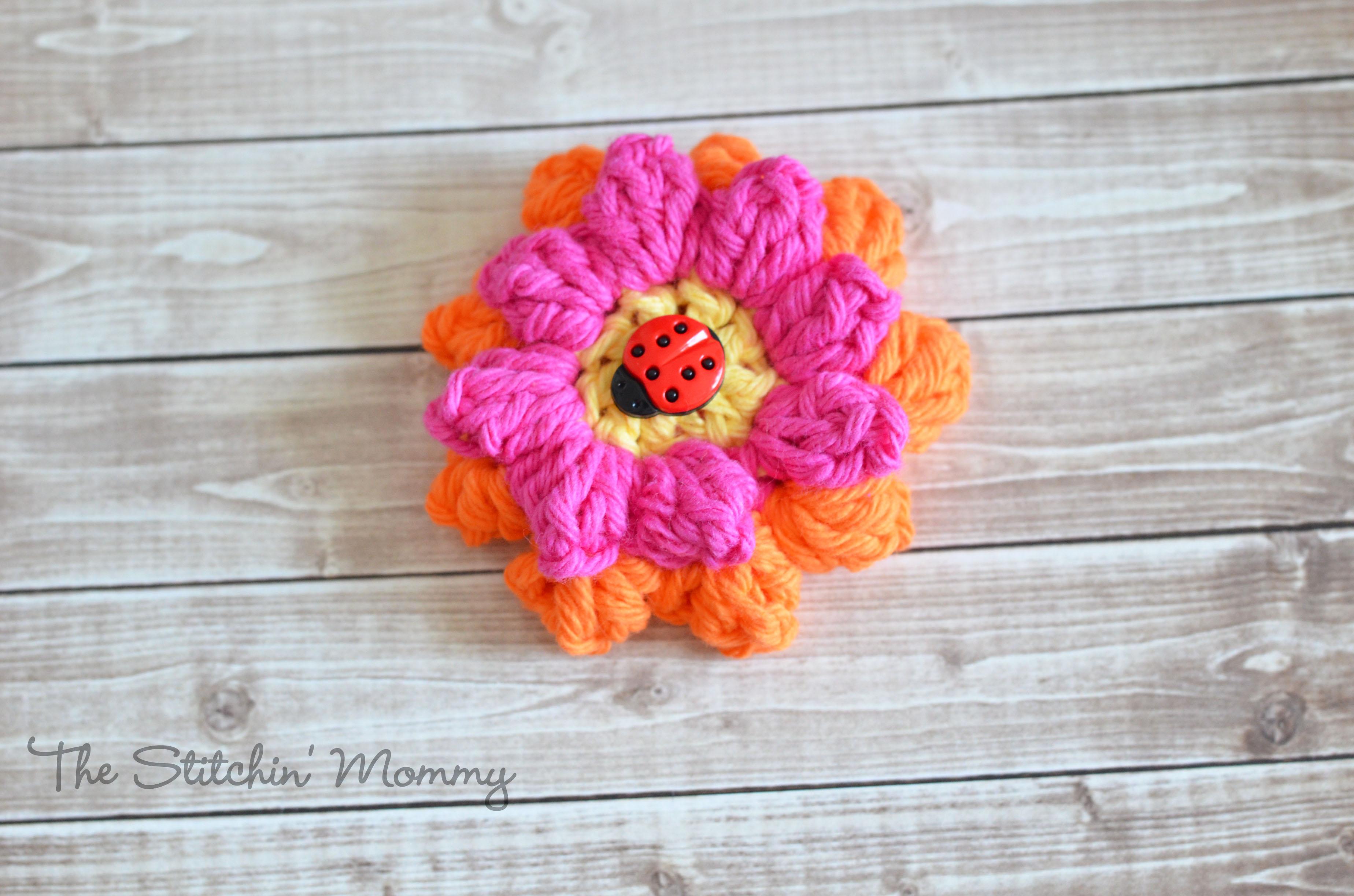 Crochet Popcorn Flower Free Pattern : Crochet Popcorn Flower - Free Pattern - The Stitchin Mommy