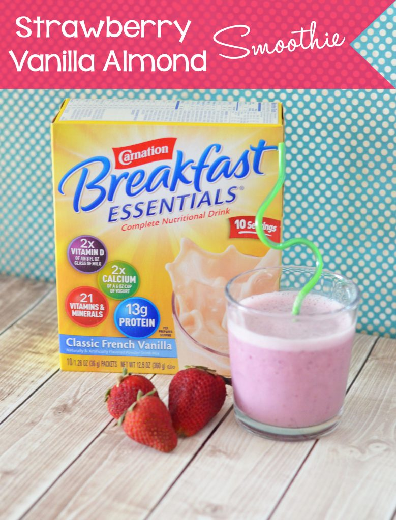 Strawberry Vanilla Almond Smoothie #BreakfastEssentials www.thestitchinmommy.com