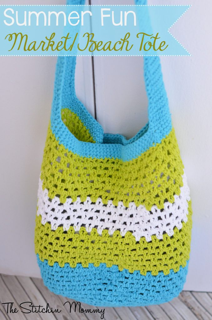 Crochet Tote Bag Free Pattern : Summer Fun Market/Beach Tote www.thestitchinmommy.com