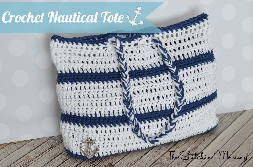 Crochet Nautical Tote www.thestitchinmommy.com