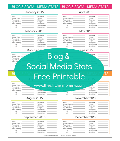 Blog and Social Media Stats – Free Printable