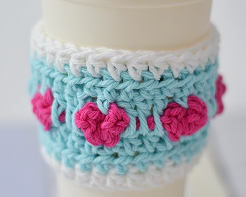 Cup Full of Love Crochet Coffee Cozy