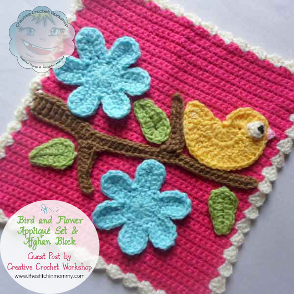 Bird and Flower Applique Set & Afghan Block - Free Pattern ...