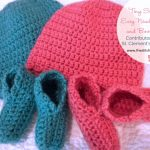 Tiny Scallops Easy Newborn Cap and Booties Set