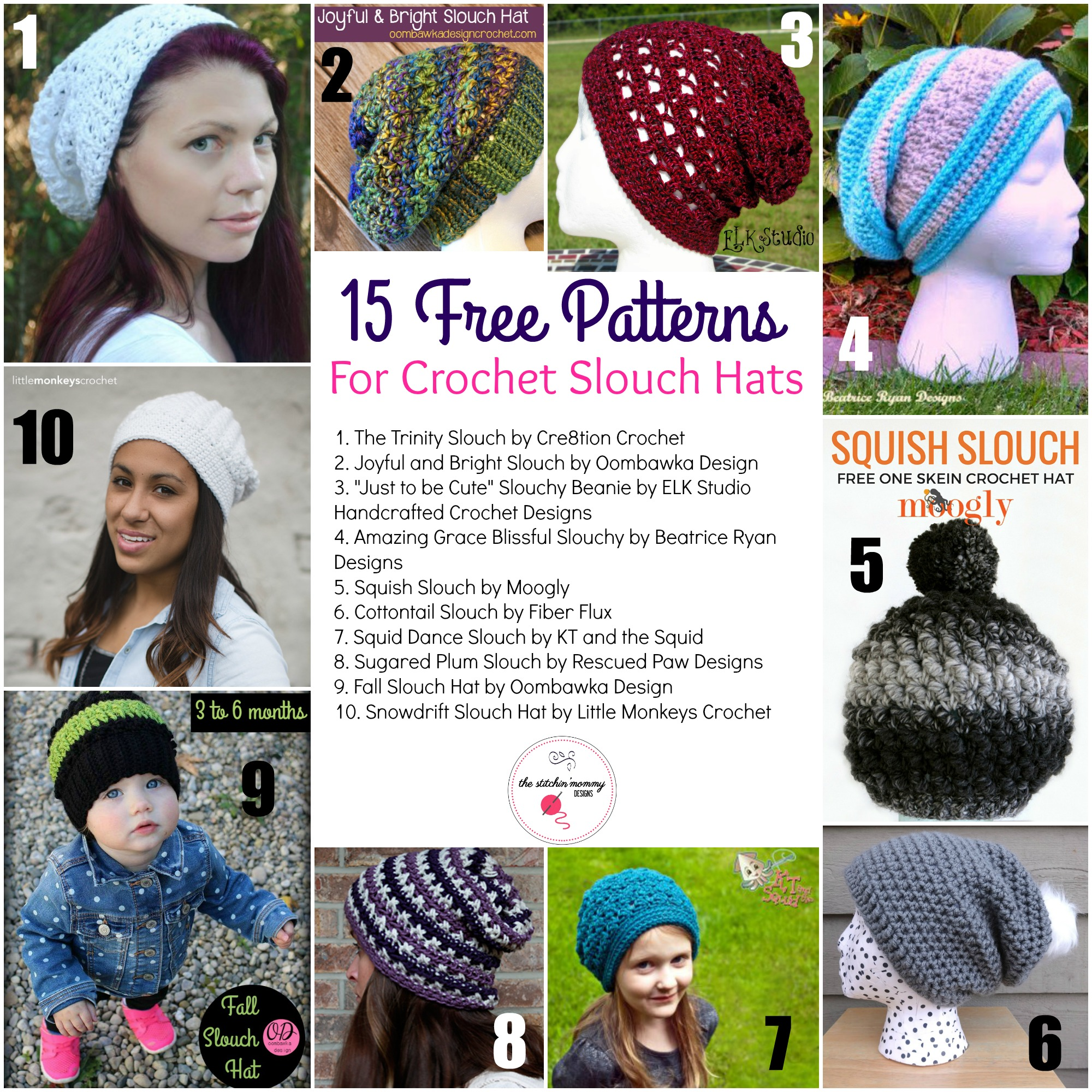 15 free patterns for crochet slouch hats the stitchin mommy bankloansurffo Image collections