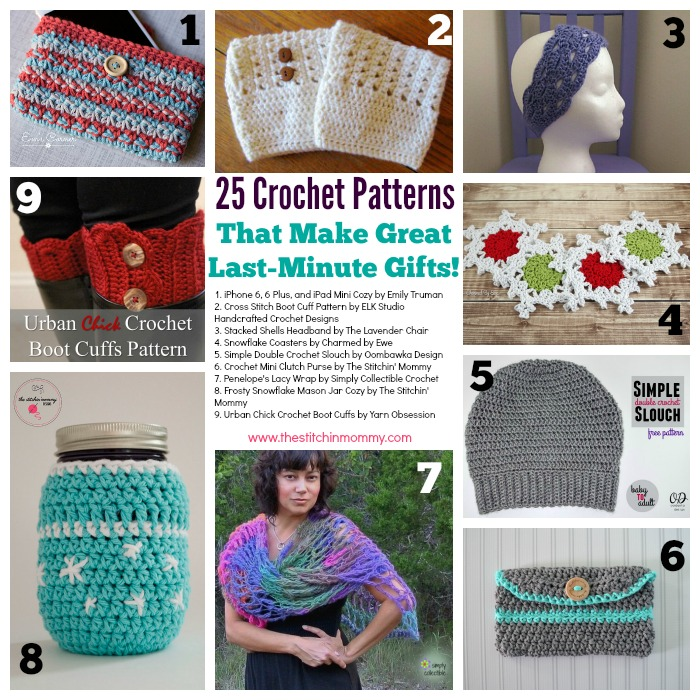 25 Crochet Patterns for Last Minute Gifts - Round Up by The Stitchin' Mommy | www.thestitchinmommy.com