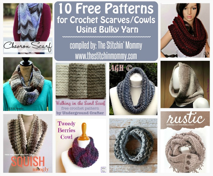 10 Free Patterns For Crochet Scarvescowls Using Bulky Yarn The