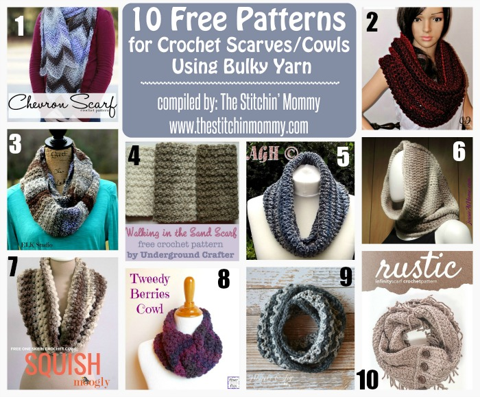 10 Free Patterns for Crochet Scarves/Cowls Using Bulky - Round Up ...
