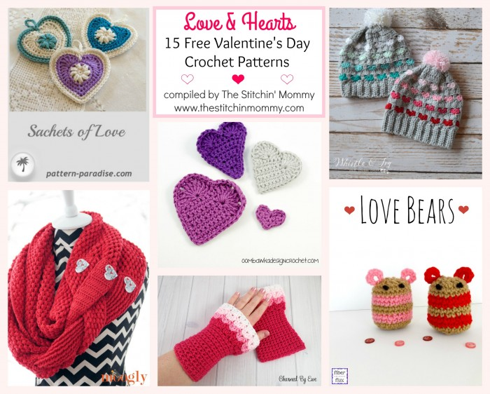 Free Crochet Pattern A Day : Love & Hearts! 15 Free Valentines Day Crochet Patterns ...