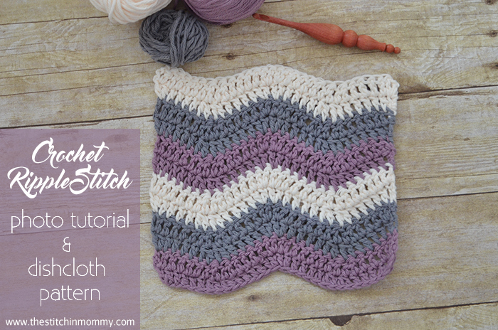Easy Crochet Ripple Afghan Tutorial : Crochet Ripple Stitch Tutorial and Dishcloth Pattern - The ...