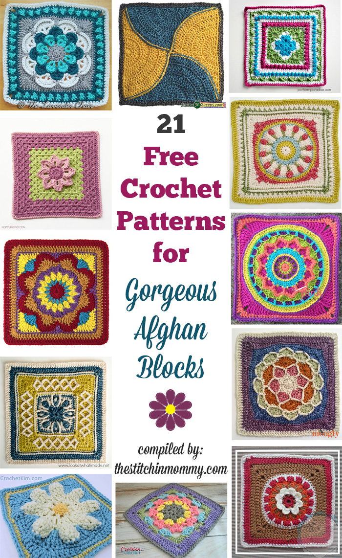 21 Free Crochet Patterns for Gorgeous Afghan Blocks compiled by The Stitchin' Mommy | www.thestitchinmommy.com