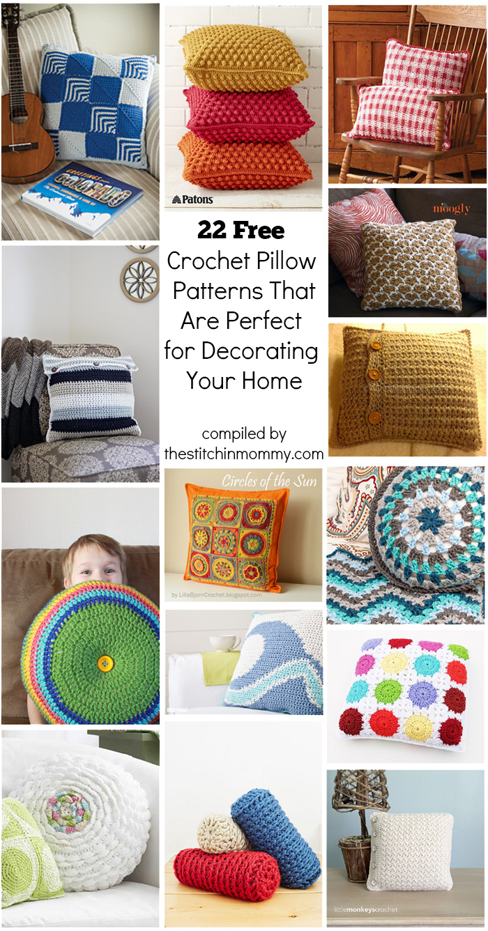 22 free crochet pillow patterns that are perfect for decorating your home the stitchin mommy Crochet home decor on pinterest
