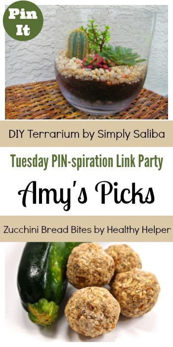 Amy's Picks   DIY Terrarium/Zucchini Bread Bites   Tuesday PIN-spiration Link Party www.thestitchinmommy.com