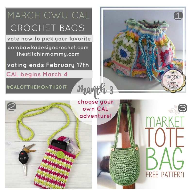 Choose Your Own CAL Adventure - Time to vote for the March CAL: Crochet Bags! #CALOFTHEMONTH2017 | www.thestitchinmommy.com