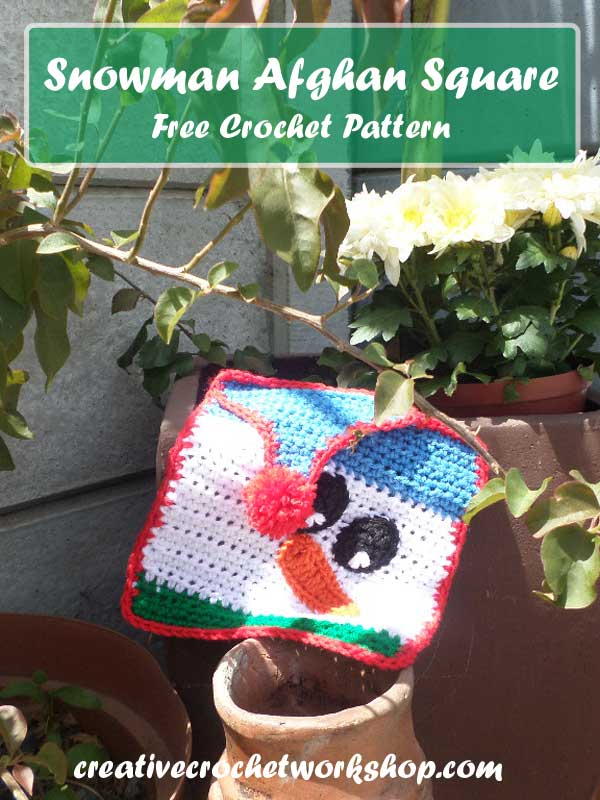 Snowman Afghan Square - Free Crochet Pattern by Creative Crochet Workshop for The Stitchin' Mommy   www.thestitchinmommy.com