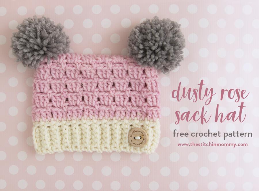 Dusty Rose Sack Hat Free Crochet Pattern In Several