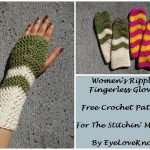 Women's Ripple Fingerless Gloves – Free Crochet Pattern