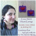 Cross Stitch Heart Earrings