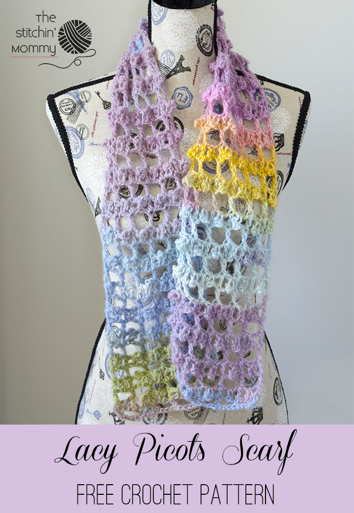 Lacy Picots Scarf Free Crochet Pattern The Stitchin Mommy