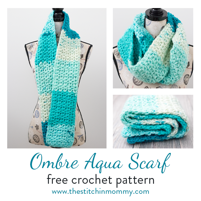 Ombre Aqua Scarf - Free Crochet Pattern - The Stitchin Mommy