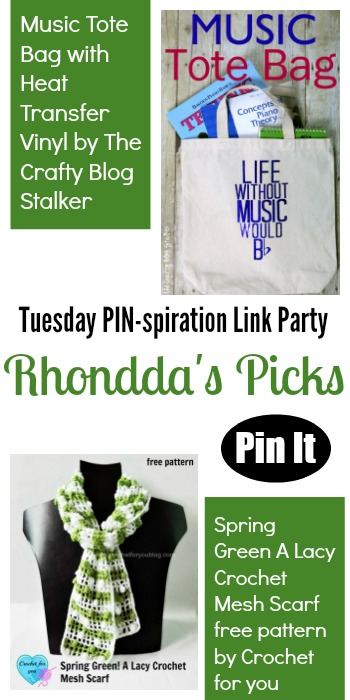 Rhondda's Picks   Music Tote Bag/Spring Green A Lacy Crochet Mesh Scarf   Tuesday PIN-spiration Link Party www.thestitchinmommy.com