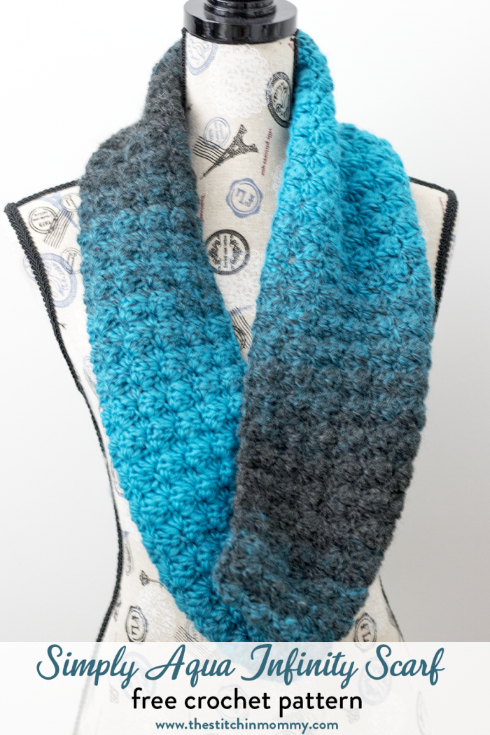 Simply Aqua Infinity Scarf - Free Crochet Pattern - The Stitchin Mommy