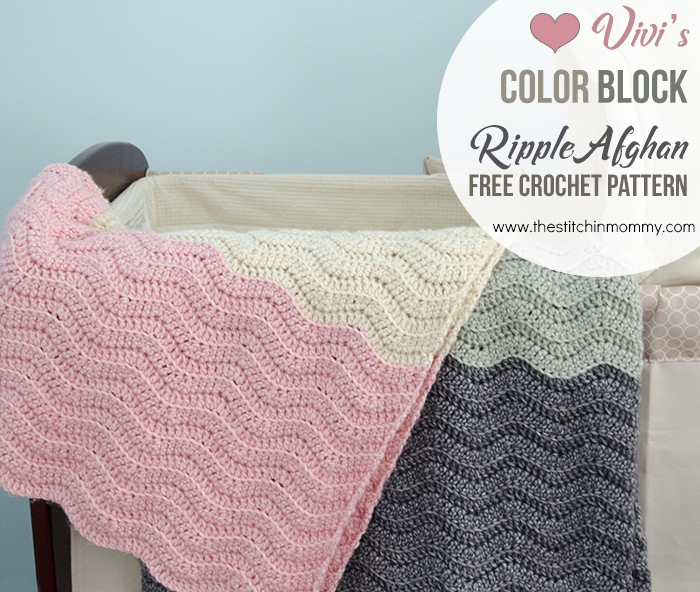 Vivi's Color Block Ripple Afghan - Free Crochet Pattern | www.thestitchinmommy.com